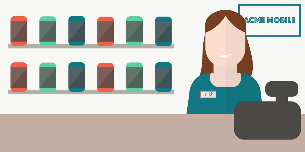 Cartoon of female standing behind counter in a mobile phone store