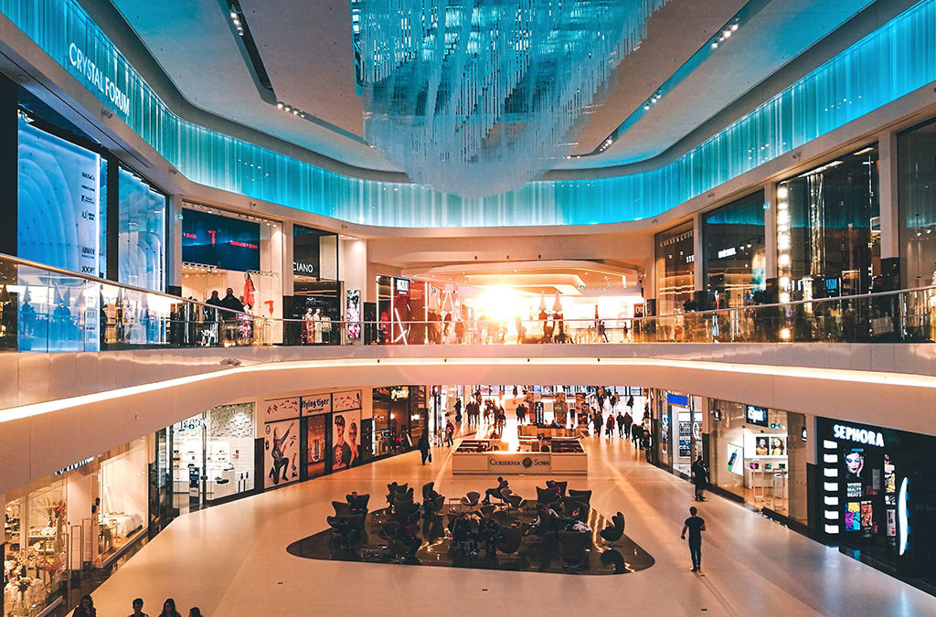 The inside of a shopping mall