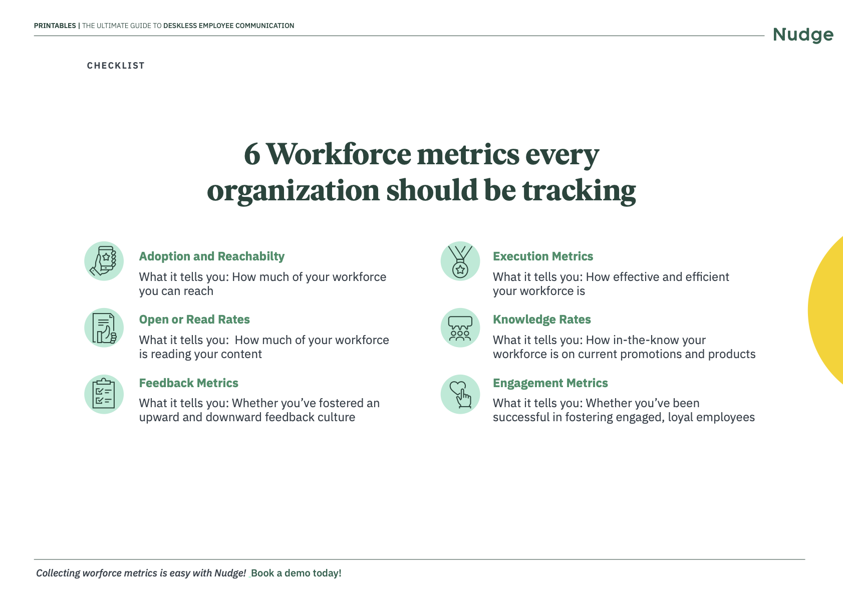 Employee metrics one-pager | Nudge